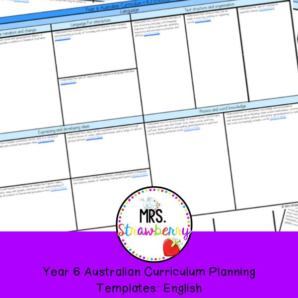 Curriculum Planning Template | Year 6 Australian Curriculum Planning Templates English Mrs