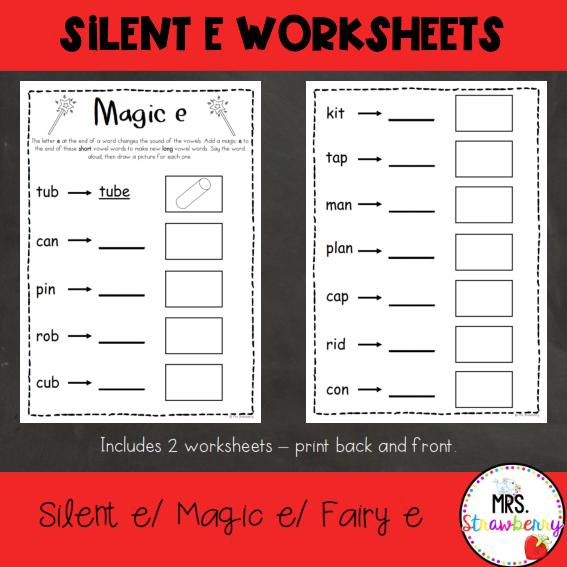 Silent e Worksheets  Magic e Worksheets   Mrs. Strawberry